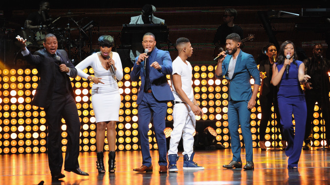FOX 2015 PROGRAMMING PRESENTATION:  EMPIRE Cast members Terrence Howard, Jennifer Hudson, Trai Byers, Bryshere Gray, Jussie Smollett, Taraji P. Henson perform during the FOX 2015 PROGRAMMING PRESENTATION announcing FOX's new primetime schedule on Monday, May 11, at The Beacon Theatre in New York.  ©2015 FOX BROADCASTING.  CR: Frank Micelotta/FOX